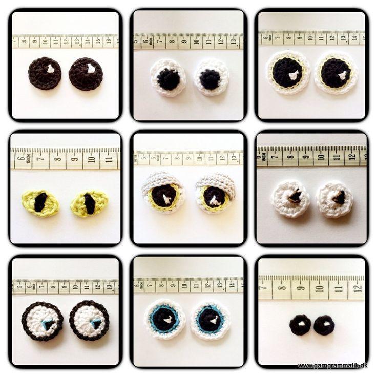 Amigurumi Tutorial: How to Crocheted Eyes - Free Pattern ( Danish page) - English Translation here: https://translate.google.com.co/translate?hl=es&sl=da&tl=en&u=http%3A%2F%2Fgarngrammatik.dk%2Fgratis-haekleopskrifter%2Fhaeklet-pynt%2Fhaeklede-oejne%2F:
