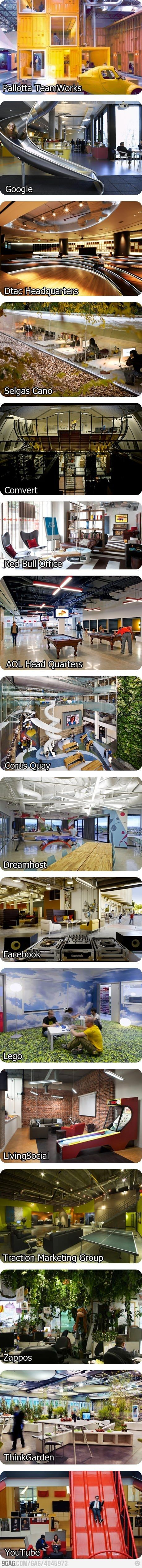 Some awesome offices...Offices Buildings, Work Area, Favorite Places, Offices Design, Offices Spaces, Work Places, Offices Workspaces, Awesome Offices, Offices Interiors