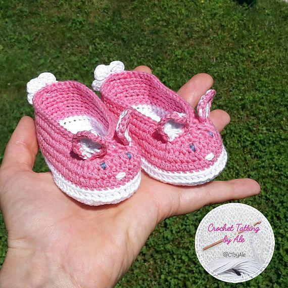 Scarpine neonata a uncinetto,  taglia 0-3 mesi, cotone bianco bianco e rosa