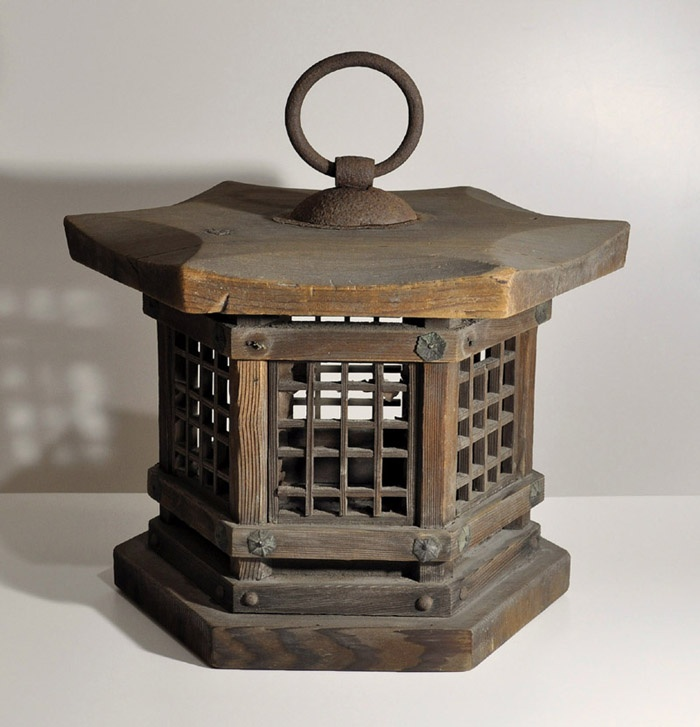 Antique Japanese wooden hanging lantern Andon Edo period 19th century