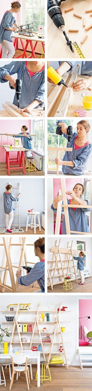 DIY ladder shelving