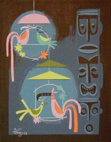 In the Tiki Tiki Tiki Tiki Tiki Room! El Gato Gomez Painting Polynesian Pop Tiki Totem Birds