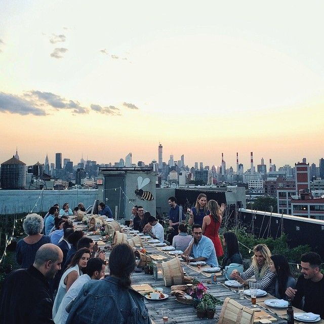 Sunset rooftop dinner with at Brooklyn Grange / photo by Patrick Janelle