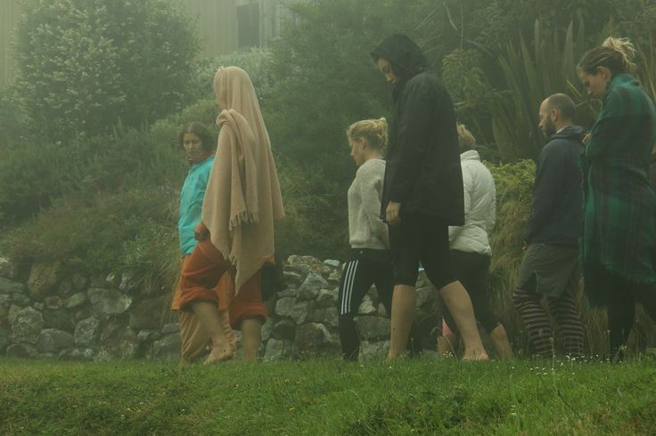 Walking meditation in the early morning mist on our Creating Change retreat