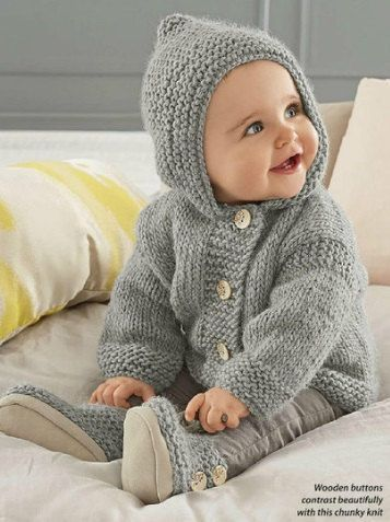 Baby Hooded Jacket Booties Chunky Easy Knit Knitting Pattern