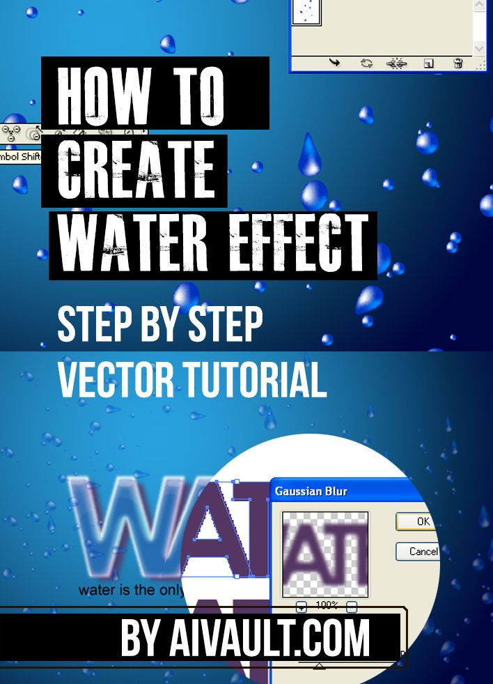 Vector Tutorial : Create a cool Water Text effect a step by step tutorial that uses mesh tool and some easy to understand techniques.
