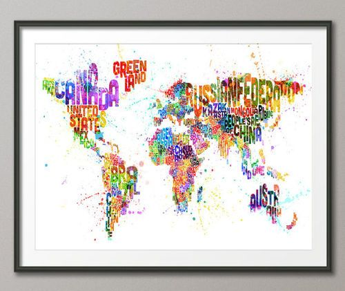 20 best world map painting diy images on pinterest map painting typography map of the world map paint splashes art by artpause gumiabroncs Images