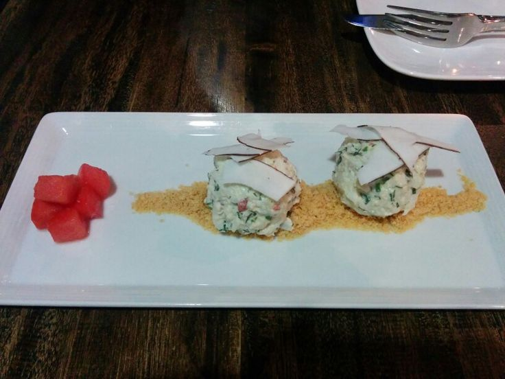 Crab Snowballs; Prawn meringue crumble w/ pickled watermelon - A: 2 B: 3