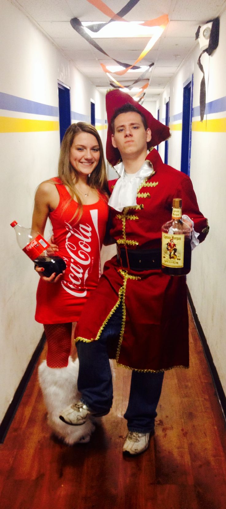 Creative halloween costume diy captain Morgan and coke couples outfit