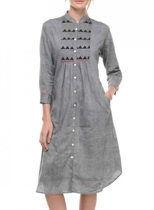 Grey mangalgiri tunic with yoke