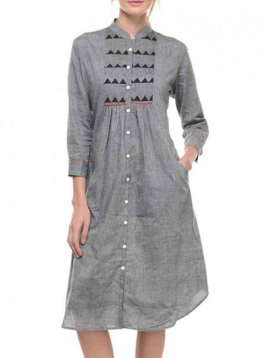Grey Mangalgiri Tunic With Yoke Dresses Cotton Tunics