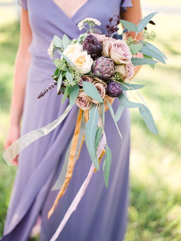 purple bridesmaid bouquet http://www.weddingchicks.com/2013/10/01/romantic-wedding-inspiration/
