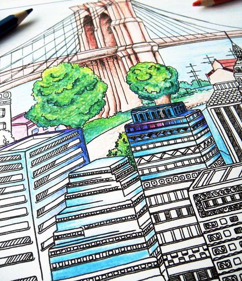 cityscape adult coloring page adult coloring book pagesfree - Coloring Book Pages Free