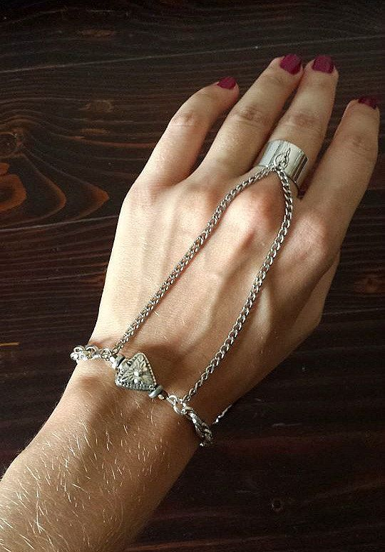 Ethnic Silver Tone Slave Bracelet, Ring Bracelt with Chains, Christmas Gifts, Etsy Gifts by Lycidasjewelry on Etsy