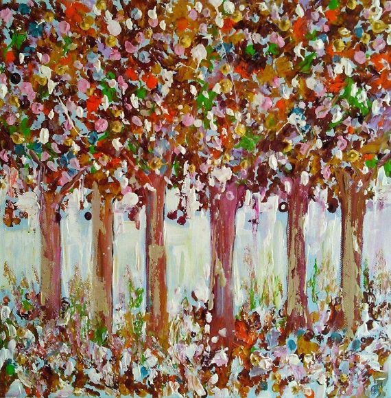 Original acrylic tree paintingtrees by AntigoniArtGallery on Etsy