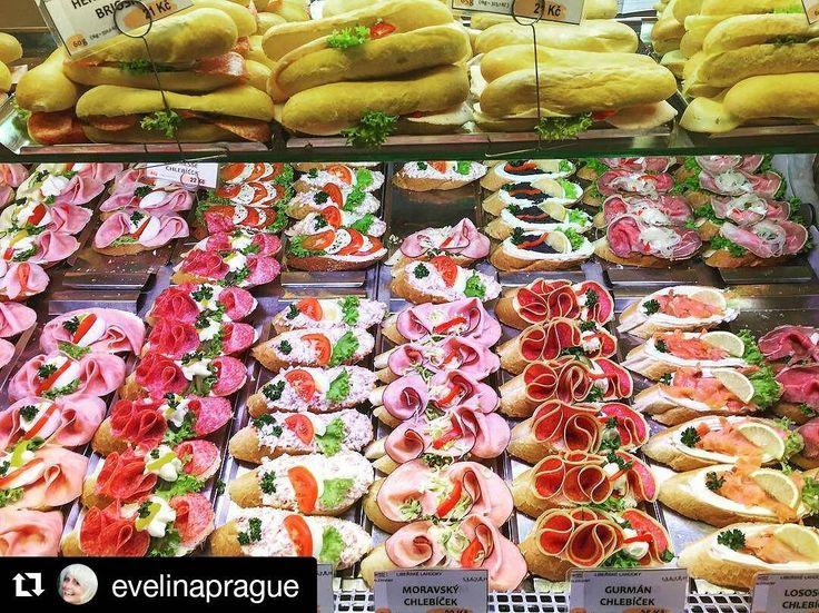 #musthave tip from @evelinaprague  Open face sandwiches (chlebíčky) traditional Czech snack. . #chlebeeczech #foodstagram #foodporn #localfood #chlebicky #iphonephotography #prag #praha #praga #milujuprahu #lahudky #snack #food #openfacedsandwich #sandwich #variety #jidlo #czechrepublic #traditional #partyfood #mnamka