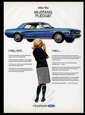 1967 Ford Mustang hardtop blue car photo vintage print ad