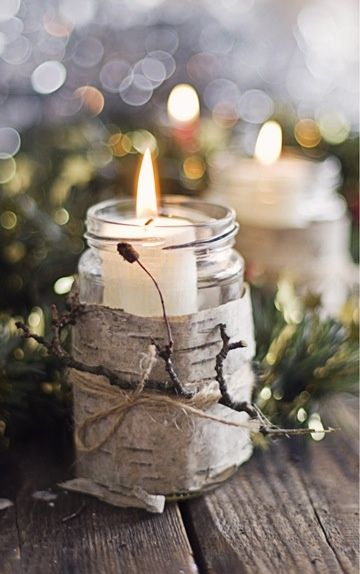rustic Christmas decoration — mason jar and candle wrapped with birch bark
