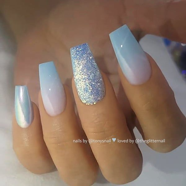 Light Blue Ombre Chrome Effect And Glitter On Coffin Nails Nail Artis Blue Ombre Nails Coffin Nails Ombre Blue Acrylic Nails