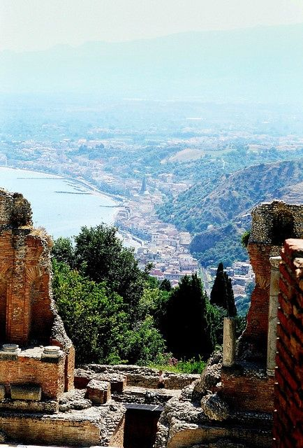Taormina, Sicily  - View from the ruins of the Roman theater