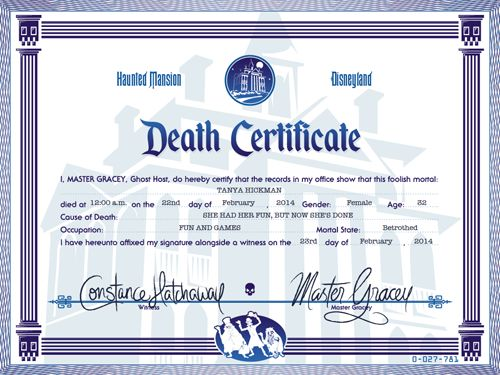 For years I have been hearing stories about people who have asked Haunted Mansion Cast Members for a Death Certificate after a ride on the H...  http://capturingmagic.me/create-your-own-haunted-mansion-death-certificate