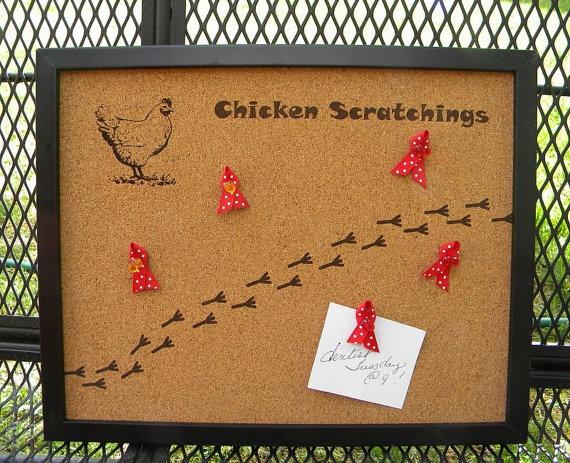 Chicken bulletin board laser engraved kitchen home for Bulletin board ideas for kitchen