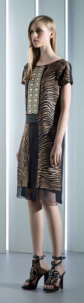 Alberta Ferretti Resort 2014 Runway Tiger Print Dress & Sandals