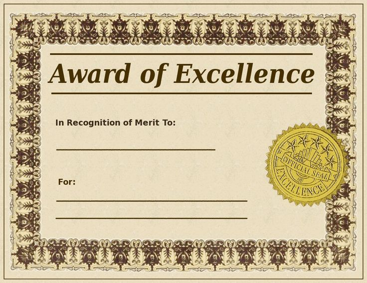 Blank Award Certificate Templates Search Terms awards, badge - excellence award certificate template