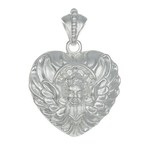 Angel heart, with wings. sand blasted and plated with rhodium.