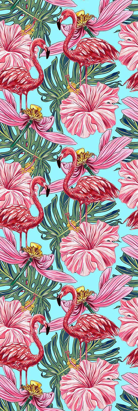 Removable Wallpaper Self Adhesive Wallpaper Pink Flamingos Etsy Wallpaper Tropical Flowers Tropical Prints Pattern