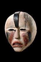 "DRC, Woyo mask - the ""ndunga"" society stands in the service of the ""ntinu"" (king) and the chiefs of the ""great families"" and had policing and military function.The members of the ""ndunga"" are guarantors of the maintenance of power and respect for the law.  H: 35 cm    Read more: http://www.tribal-art-auktion.de/en/catalogue175/d100_401/#ixzz3eztW9FfQ"