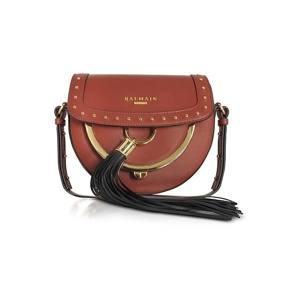 Balmain Handbags Domaine 18 Glove Terre de Sienne Leather Crossbody... (29.187.310 IDR) ❤ liked on Polyvore featuring bags, handbags, shoulder bags, tan, brown leather crossbody, brown leather shoulder bag, leather crossbody handbags, coin pouch and leather coin pouch
