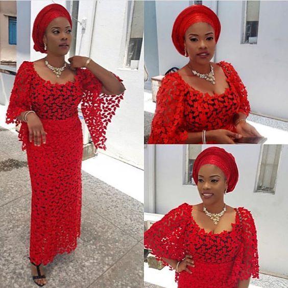 Red Colour Aso ebi Lace Styles - DeZango Fashion Zone