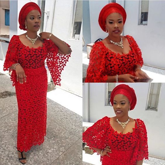 Red Colour Aso ebi Lace Styles - DeZango Fashion Zone