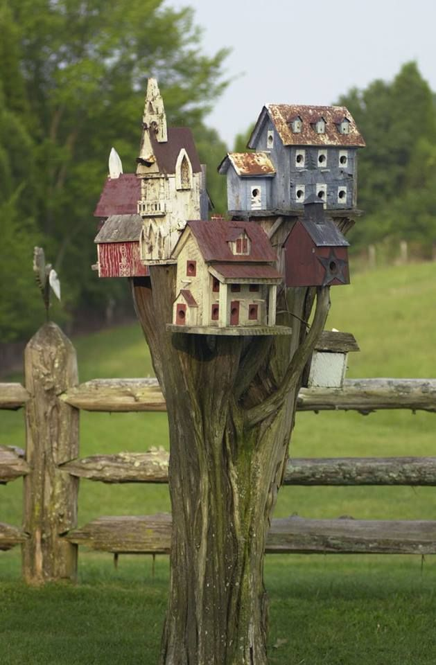 I'd Fall In Love With This If I Was A Bird~ Little Birdhouse Village #PinMyDreamBackyard