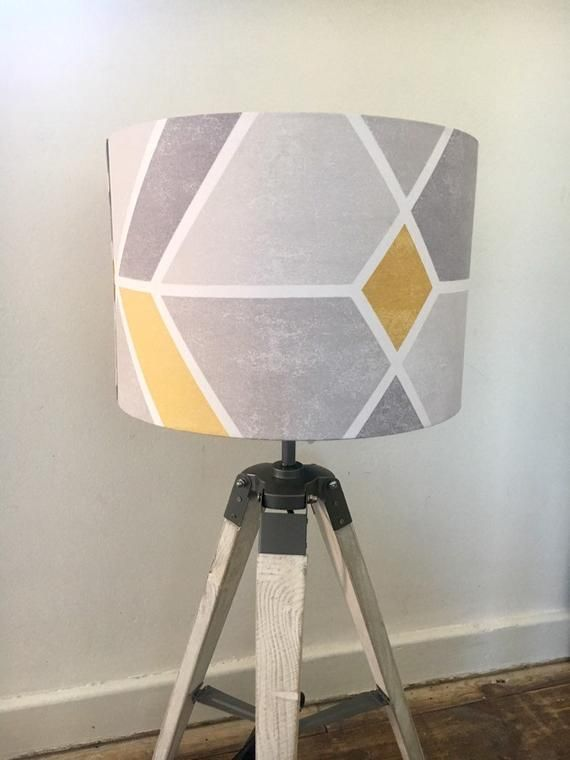 Yellow Grey Geometric Pattern Handmade Fabric Drum Lampshade Ceiling Pendant Or Table Lamp 20cm To 40cm Large And Small Drum Lampshade Ceiling Pendant Lamp Shades