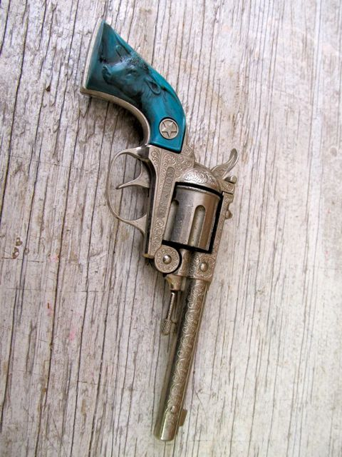 Every Cowgirl Needs A Rare Vintage Turquoise Grip Hubley Cap Gun. Etsy.    and this one day as well