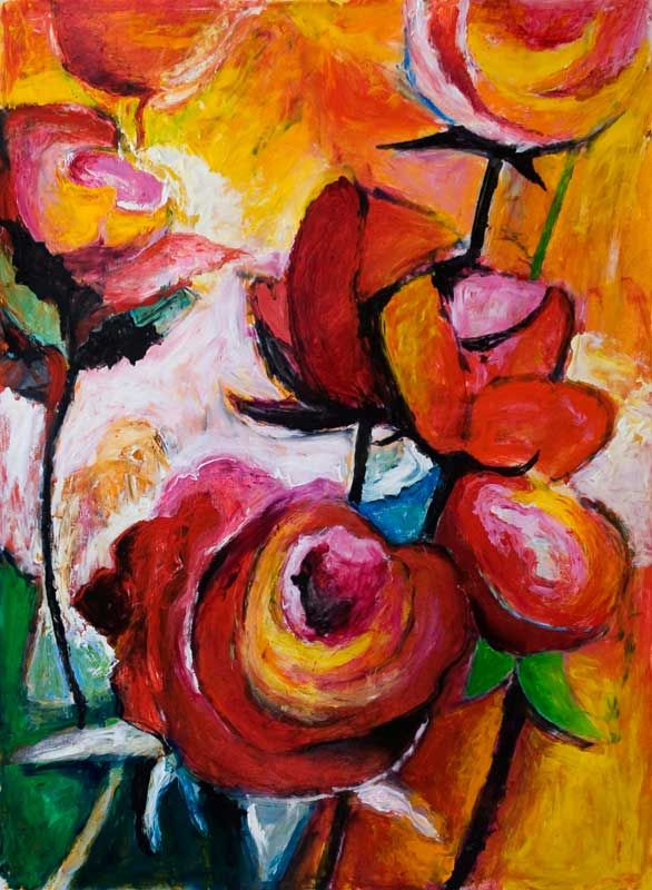 'Red roses for a blue lady' oil on paper 76x57 cms #painting #flowers #jeremyholton http://www.jeremyholton.com http://thailand-painting-holidays.com Visit our art and photography guest house in NE Thailand by Jeremy Holton https://plus.google.com/u/0/104359568476968412848?rel=author