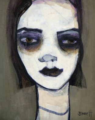 Violetta, ca. 2015 Acrylic and mixed media on board 9 4/5 × 7 9/10 in 25 × 20 cm