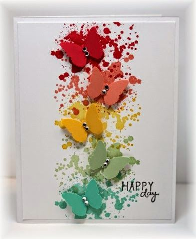 handmade card from Scrappin' and Stampin' in GJ ... colorful column of grunge splats ... matching punched butterflies ... bright and light ... luv it!