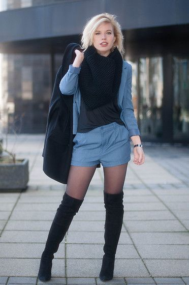 Mai Piu Senza Black Suede Over The Knee Boots Thigh High Tall Boots, H&M Blue Denim Smart Shorts Suit, H&M Denim Blue Suit Jacket Blazer, Asos Black T Shirt Clean Plain Tee, Even & Odd Black Knit Snood Scarf Diy, Asos Oversized Black Cocoon Coat