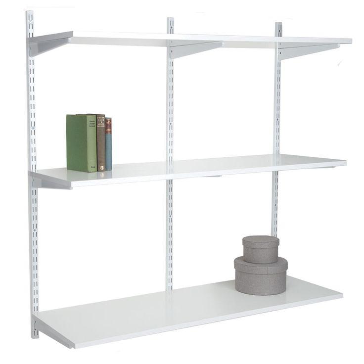 3 shelf wall mounted shelving unit white
