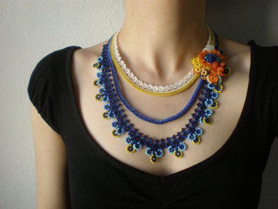 Tagetes Minuta  ... Beaded Crochet Necklace -  Royal Blue Turquoise Yellow White Orange Flowers