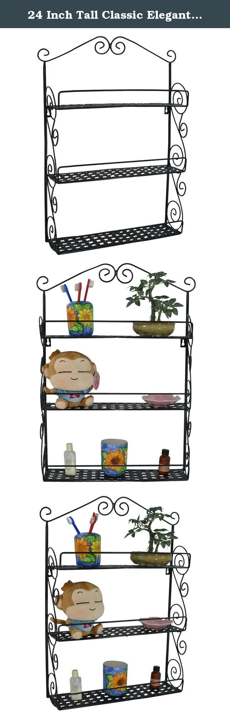 24 Inch Tall Classic Elegant Large Black Metal Wall Mounted Shelves Kitchen Spice Rack / Bathroom Accessory Storage Multi Purpose Organizer. Give your home a splash of sensible, stylish storage when you add this lovely spice rack to any space. Perfect for organizing and displaying not just spices but all manner of household items, this gorgeous wall-mounted shelf set is an invaluable storage solution for any space, including the kitchen, living room, bedroom, bathroom, and even the garage...