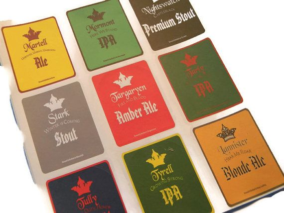 Game of Thrones Beer Labels Martell, Mormont, Stark, Targaryen, Tyrell, Lannister, Nightswatch, Tully, Tarley Variety Set