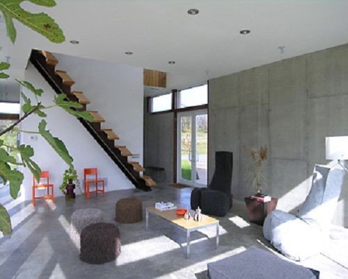 Simple Raw Concrete Wall Interior House Plans with Stairs