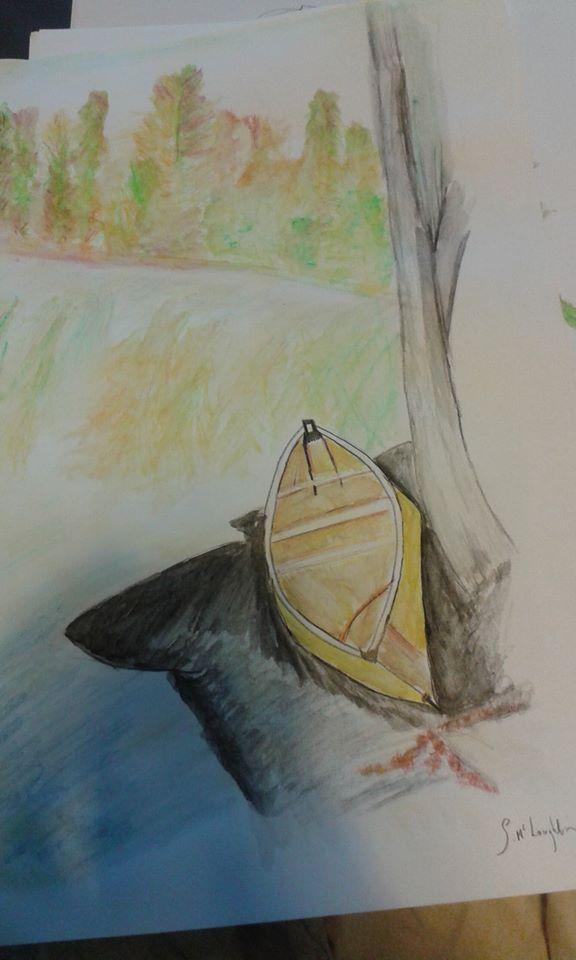 sketch of a boat at a lake