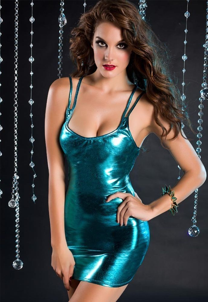 9b338468308 SEXY BLUE METALLIC WET LOOK PVC LYCRA BODYCON STRAPPY CLUBWEAR DRESS SIZE 8  S