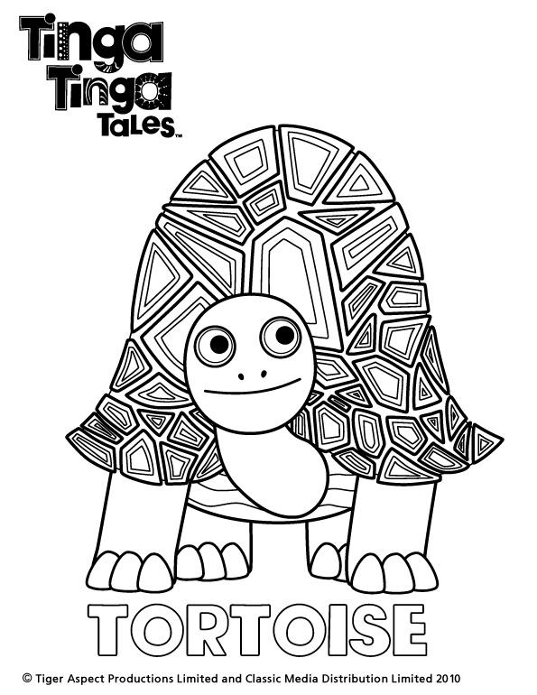 Tinga Tinga Tales Black and white picture of Tortoise