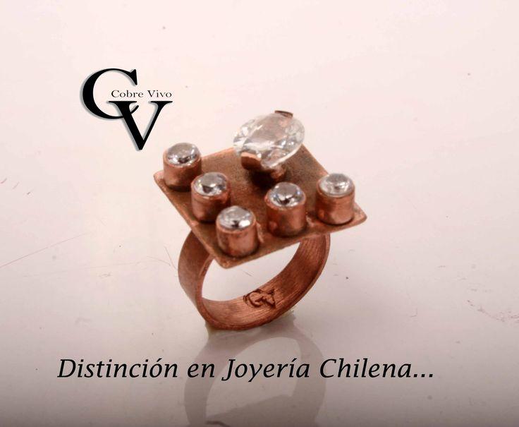 Diseño terminado, anillo de cobre con circones Joyería en cobre, Artesanía en cobre